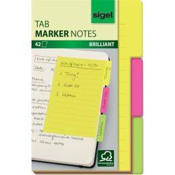 Jelölőlap, papír, 3x14 lap, 98x148 mm, SIGEL, 3 különböző szín