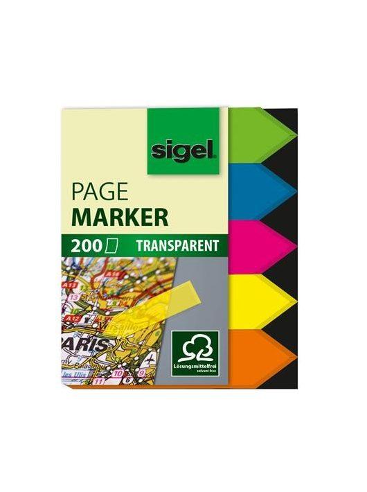 """Jelölőcímke, műanyag, 5x40 lap, 12x45 mm, SIGEL """"Nyilak"""", vegyes szín, 200 lap"""