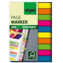 "Jelölőcímke, műanyag, 10x40 lap, 6x50 mm, SIGEL ""Micro"", vegyes szín, 400 lap"