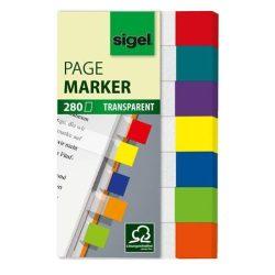 """Jelölőcímke, műanyag, 7x40 lap, 20x50 mm, SIGEL """"Clear Mini"""", vegyes szín, 280 lap"""