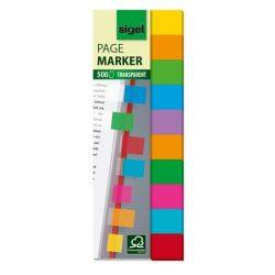 Jelölőcímke, műanyag, 10x50 lap, 44x12,5 mm, SIGEL, vegyes színek, 500 lap