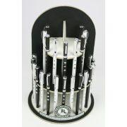 Golyóstoll, fekete-fehér, 3 Swarovski kristállyal, 8cm