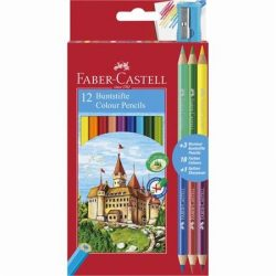 Színes ceruza készlet, hatszögletű, FABER-CASTELL, 12 különböző szín + 3 db bicolor ceruza