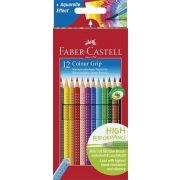 """Színes ceruza készlet, háromszögletű, FABER-CASTELL """"Grip 2001"""", 12 különböző szín"""