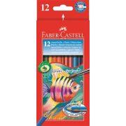 Aquarell színes ceruza készlet, hatszögletű, ecsettel, FABER-CASTELL, 12 különböző szín