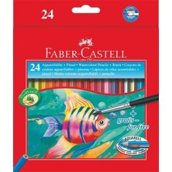 Aquarell színes ceruza készlet, hatszögletű, ecsettel, FABER-CASTELL, 24 különböző szín