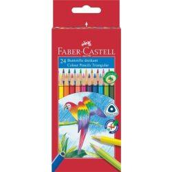 """Színes ceruza készlet, háromszögletű, FABER-CASTELL """"Papagáj"""", 24 különböző szín"""