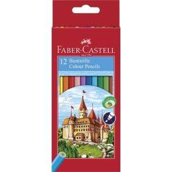"""Színes ceruza készlet, hatszögletű, FABER-CASTELL """"Classic"""", 12 különböző szín"""