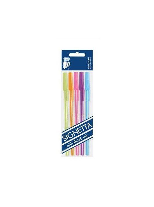 """Golyóstoll készlet, 0,7 mm, kupakos, 5 különböző testszín, ICO """"Signetta Mix"""", kék (TICSIM01)"""