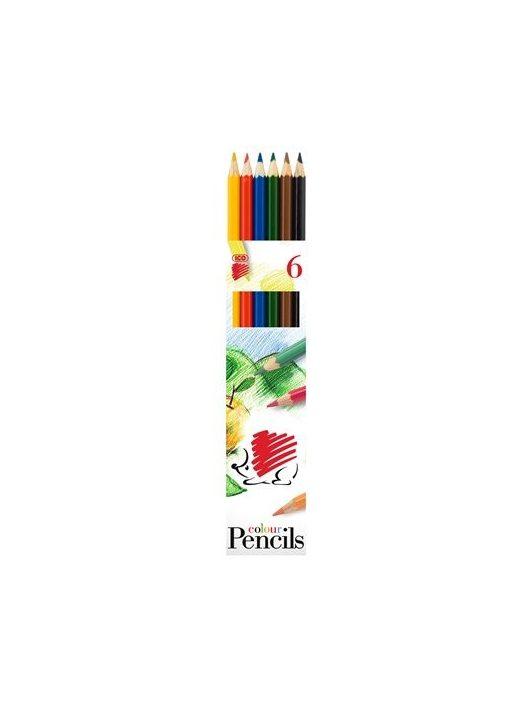 """Színes ceruza készlet, hatszögletű, ICO """"Süni"""", 6 különböző szín"""