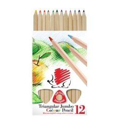 """Színes ceruza készlet, háromszögletű, vastag, natúr, ICO """"Süni"""", 12 különböző szín"""
