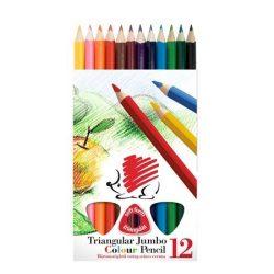 """Színes ceruza készlet, háromszögletű, vastag, ICO """"Süni"""", 12 különböző szín"""