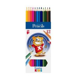 """Színes ceruza készlet, hatszögletű, ICO """"Creative Kids"""", 12 különböző szín"""