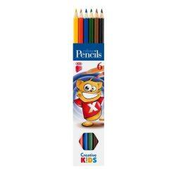 """Színes ceruza készlet, hatszögletű, ICO """"Creative Kids"""", 6 különböző szín"""