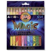 """Színes ceruza készlet, háromszögletű, KOH-I-NOOR """"Magic 3408"""", 12+1 különböző szín"""