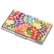 """Névjegykártyatartó tárca, fém, 11 db-os, TROIKA, """"Colourful leaves"""""""