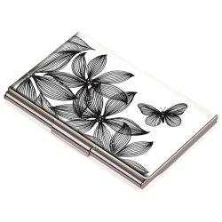 """Névjegykártyatartó tárca, fém, 11 db-os, TROIKA, """"Black flowers"""""""