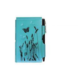 """Jegyzettömb fémtokban, Flip Notes®, fehér jegyzetlappal, fekete golyóstollal, TROIKA, """"Blue Butterfly"""", kék-fekete"""