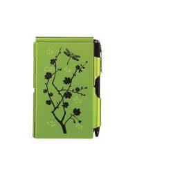 """Jegyzettömb fémtokban, Flip Notes®, fehér jegyzetlappal, fekete golyóstollal, TROIKA, """"Lime blossom"""", zöld"""