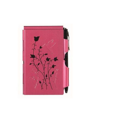 """Jegyzettömb fémtokban, Flip Notes®, fehér jegyzetlappal, fekete golyóstollal, TROIKA, """"Raspberry hummingbird"""", piros"""