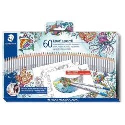 """Akvarell ceruza készlet, fém doboz, STAEDTLER """"Karat"""" , 60 különböző szín, Johanna Basford (TS125M60JB)"""