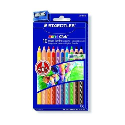 """Színes ceruza készlet, hatszögletű, vastag, STAEDTLER """"Noris Club"""", 10 különböző szín"""