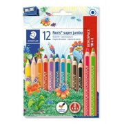 """Színes ceruza készlet, háromszögletű, vastag, hegyezővel, STAEDTLER """"Noris Jumbo"""", 10+2 különböző szín"""