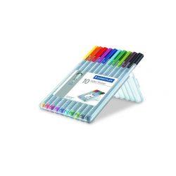 """Tűfilc készlet, 0,3 mm, STAEDTLER """"Triplus Box"""", 10 különböző szín"""