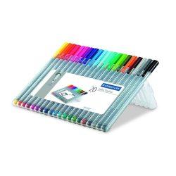 """Tűfilc készlet, 0,3 mm, STAEDTLER """"Triplus Box"""", 20 különböző szín"""