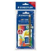"""Színes ceruza készlet, hatszögletű, ajándék grafitceruzával és radírral, STAEDTLER """"Noris Club"""", 12 különböző szín (TS61SET6)"""