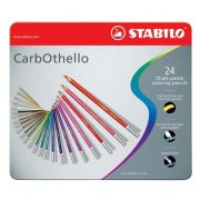 """Pasztell ceruza készlet, kerek, fém doboz, STABILO """"CarbOthello"""", 24 különböző szín"""