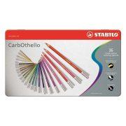 """Pasztell ceruza készlet, kerek, fém doboz, STABILO """"CarbOthello"""", 36 különböző szín"""
