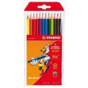 """Színes ceruza készlet, háromszögletű, STABILO """"Trio"""", 12 különböző szín (TST196012)"""