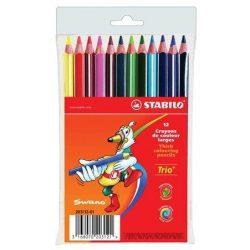 """Színes ceruza készlet, háromszögletű, vastag, STABILO """"Trio"""", 12 különböző szín (TST20312)"""