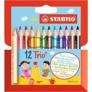 """Színes ceruza készlet, háromszögletű, vastag, rövid, STABILO """"Trio"""", 12 különböző szín"""