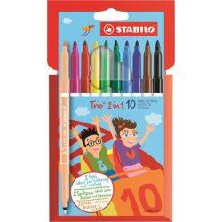 """Filctoll készlet, 0,5-2 mm, kétvégű, STABILO """"Trio 2 in 1"""", 10 különböző szín"""