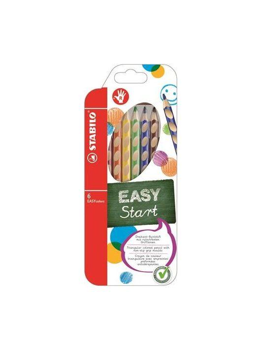 """Színes ceruza készlet, háromszögletű, jobbkezes, STABILO """"EasyColours"""", 6 különböző szín"""