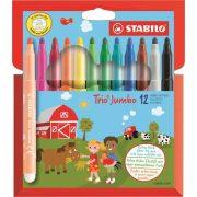"""Filctoll készlet, 3 mm, STABILO """"Trio Jumbo"""", 12 különböző szín"""