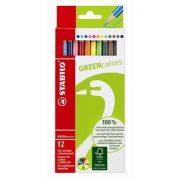 """Színes ceruza készlet, hatszögletű, STABILO """"GreenColours"""", 12 szín (TST6019121)"""