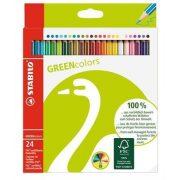 """Színes ceruza készlet, hatszögletű, STABILO """"GreenColours"""", 24 szín (TST601924)"""
