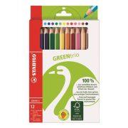 """Színes ceruza készlet, háromszögletű, vastag, STABILO """"GreenTrio"""", 12 különböző szín"""