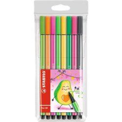 """Rostirón készlet, 1 mm, STABILO """"Pen 68 Living Colors"""", Avokádó, 8 különböző szín"""