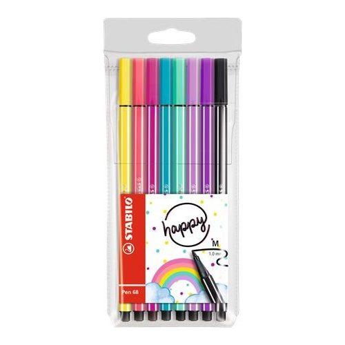 """Rostirón készlet, 1 mm, STABILO """"Pen 68 Living Colors"""", Happy, 8 különböző szín"""