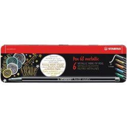 """Rostirón készlet, 1,4 mm, fém doboz, STABILO """"Pen 68 metallic"""", 6 különböző szín"""