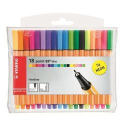 """Tűfilc készlet, 0,4 mm, STABILO """"Point 88 Mini Neon"""", 18 különböző szín (TST688182)"""