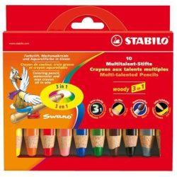 """Színes ceruza készlet, kerek, vastag, STABILO """"Woody"""", 10 különböző szín (TST88010)"""