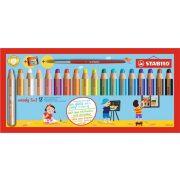"""Színes ceruza készlet, kerek, vastag, STABILO """"Woody 3 in 1"""", 18 különböző szín+"""