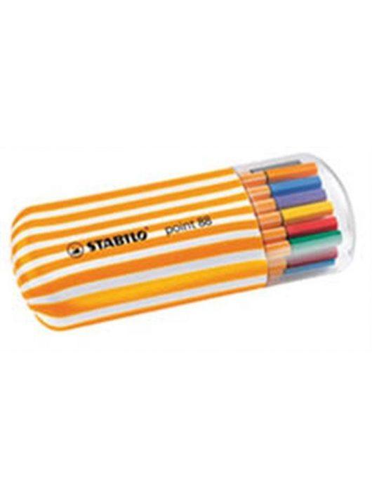 """Tűfilc készlet, 0,4 mm, STABILO """"Point 88 Zebrui"""", 20 különböző szín (TST882002)"""