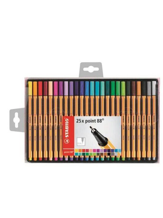 """Tűfilc készlet, 0,4 mm, STABILO """"Point 88"""", 25 különböző szín (TST8825)"""