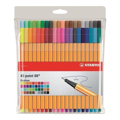 """Tűfilc készlet, 0,4 mm, STABILO """"Point 88"""", 40 különböző szín (TST88401K)"""